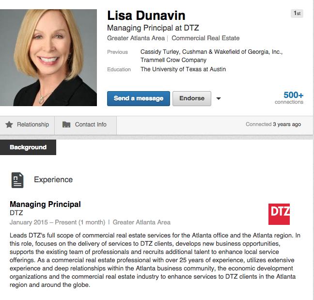 Lisa Dunavin LinkedIn - DTZ