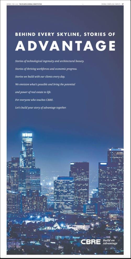 CBRE full-page ad AJC 2.9.2015